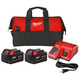 Milwaukee 48-59-1852P M18 REDLITHIUM XC 5 Ah Lithium-Ion Battery (2-Pack), Charger, and Bag Kit
