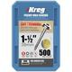 Kreg SML-C150-500 Pocket Screws - 1-1/2 in., #8 Coarse, Washer-Head (500 Pcs)