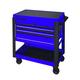 Sunex 8035XTBL 3 Drawer Slide Top Utility Cart with Power Strip (Blue)