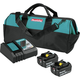 Makita BL1850BDC2X 18V LXT Lithium-Ion Battery and Rapid Optimum Charger Starter Pack (5 Ah)