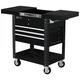 Homak BK06043500 35 in. 4-Drawer Slide Top Cart - Black