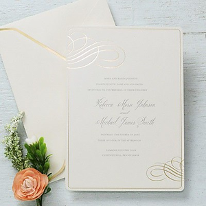 about gartner studios invitation envelope formal gold foil swir