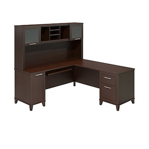 About: Bush Furniture Somerset 71W L Shaped Desk With Hutch, Mocha .