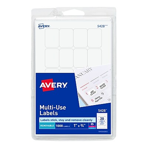 Avery® 5408 Print-or-Write Multiuse ID Labels, 3/4\