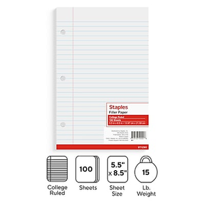 staples college ruled filler paper 8 1 2 x 11 400 pack 27521m