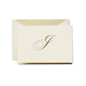 about crane co hand engraved ecru initial note with envelope g elegant note cards - Initial Note Cards