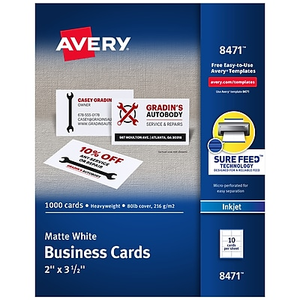 Avery inkjet business cards white 2 x 3 12 250cards staples about avery inkjet business cards 2 x 35 white 1000box08 reheart Gallery
