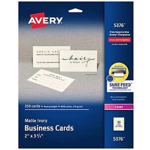 Avery laser business cards white 2 x 3 12 250cards staples about avery laser business cards ivory 2 x 3 12 250car accmission Image collections