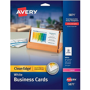 Avery clean edge two side printable laser business cards ivory about avery clean edge printable laser business cards 2 x 35 reheart Image collections