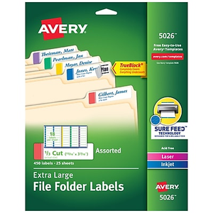 avery 5027 extra large white permanent file folder labels with