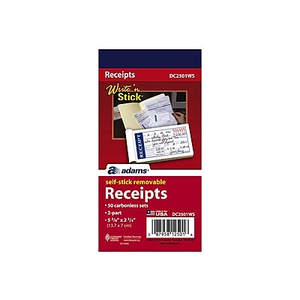 adams write stick receipt book 5 1 4 x 11 2 part staples