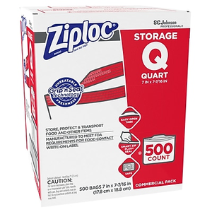 About Ziploc 1 Quart Double Zipper Storage Bags Commercial 500 Ct