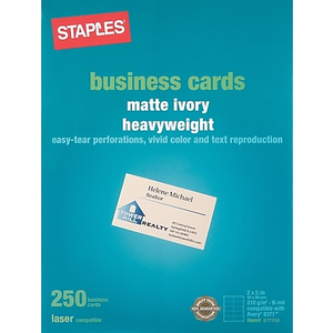 Staples 14633 cc laser business cards white 250pack staples about staples laser business cards ivory 250pk solutioingenieria Images