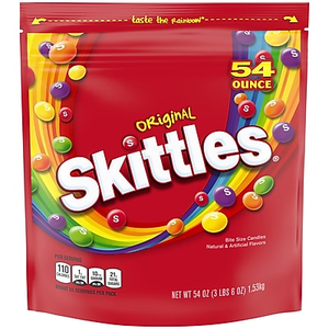 About Skittles Original Fruit Flavored Candy 54 Oz Gusset Bag