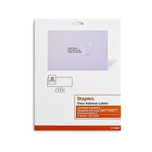 staples clear inkjet laser address labels 1 x 2 5 8 750 box