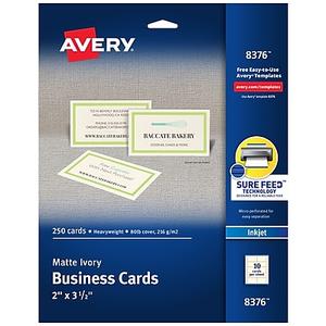 Avery inkjet business cards white 2 x 3 12 250cards staples about avery inkjet business cards ivory 2 x 3 12 250cards colourmoves