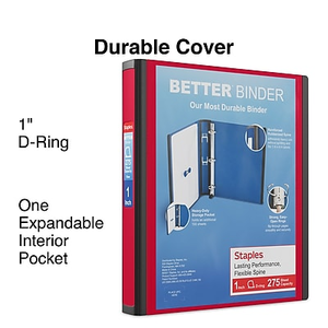 1 staples better view binder with d rings white staples