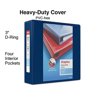 staples heavy duty 3 inch slant d 3 ring view binder black 24690