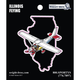Illinois State with Airplane Sticker