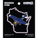 Wisconsin State with Airplane Sticker