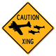 Caution Plane Xing Metal Sign