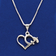 Sterling Silver High-Wing with Heart Necklace