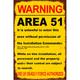 Warning: Area 51 Metal Sign
