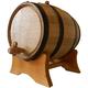 Oak Beverage Dispensing Barrel with Black Steel Bands - Satin Finish - 10 Liter