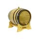 Oak Beverage Dispensing Barrel with Black Steel Bands - Satin Finish - 5 Liter
