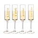 Cheers Gold Script Contemporary Champagne Flutes - 8 oz - Set of 4