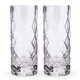 Viski Raye Gem Crystal Highball Glasses - 14 oz - Set of 2