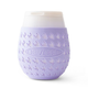 Goverre Stemless Wine Glass - Thick Glass  with Silicone Sleeve & Drink-Through Lid - Lavender