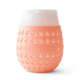 Goverre Stemless Wine Glass - Thick Glass  with Silicone Sleeve & Drink-Through Lid - Peach