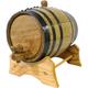 Oak Beverage Dispensing Barrel with Black Steel Bands