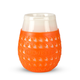 Goverre Stemless Wine Glass - Thick Glass  with Silicone Sleeve & Drink-Through Lid - Orange
