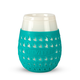 Goverre Stemless Wine Glass - Thick Glass  with Silicone Sleeve & Drink-Through Lid - Turquoise