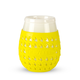 Goverre Stemless Wine Glass - Thick Glass  with Silicone Sleeve & Drink-Through Lid - Yellow