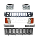 1ABGK00025-1993-95 Jeep Grand Cherokee Grille  Header Panel & Light Set