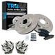 1ABMS00018-Wheel Hub & Bearing Pair with CERAMIC Brake Pads & Rotors Set Front