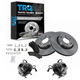 1ABMS00016-Wheel Hub & Bearing Pair with CERAMIC Brake Pads & Rotors Set Front