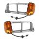 1ALPP00365-Freightliner FLD 112 FLD 120 Headlight Bezel w/Side Marker Light Pair