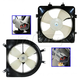 1ARFK00022-Honda Civic Civic Del Sol Radiator & A/C Condenser Cooling Fan Assembly Pair