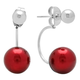Red Faux Pearl Ear Jacket Earrings VR