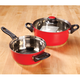 Red Stainless Steel Sauce Pans Set of 2 by HomeStyle Kitchen