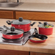 Red Non-Stick Steel Cookware 7 Piece Set