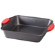 Square Cake Pan with Red Silicone Handles by HSK