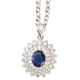 Simulated Sapphire and Diamond Necklace