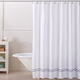 Lucianna 100% Cotton Embroidered Shower Curtain