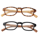 Reading Glasses with Wood Grain Bows, 2 Pair