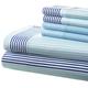 Hotel 5th Ave 90gsm Microfiber Sheet Set - Blue City Stripe